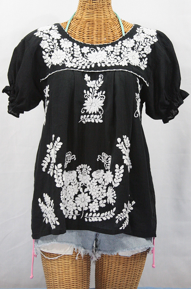 """La Mariposa Corta"" Embroidered Mexican Style Peasant Top - Black"