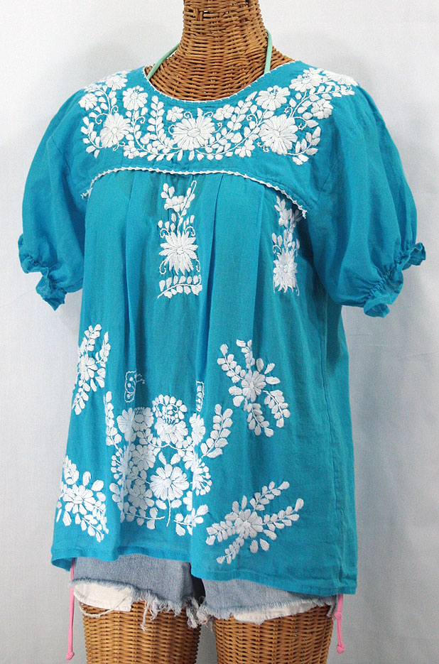 """La Mariposa Corta"" Embroidered Mexican Style Peasant Top - Turquoise"