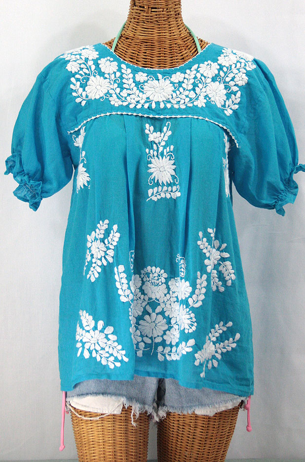 """""""La Mariposa Corta"""" Embroidered Mexican Style Peasant Top - Turquoise"""