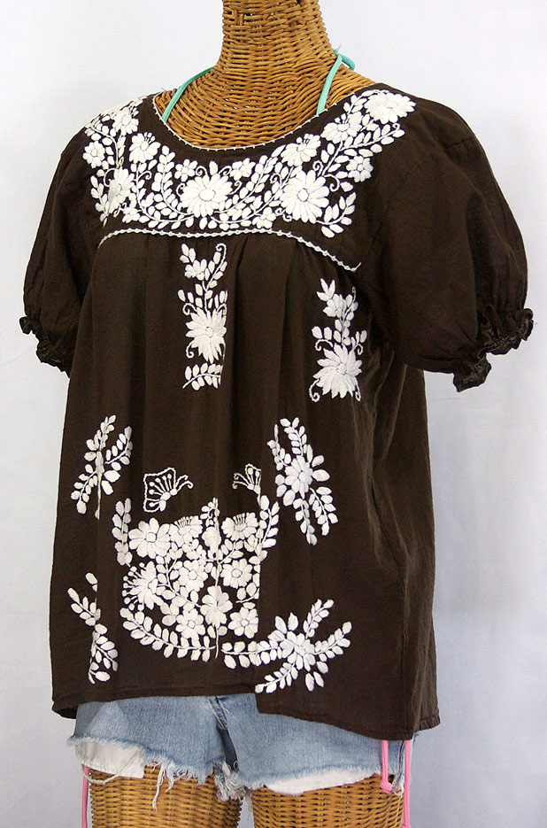 """""""La Mariposa Corta"""" Embroidered Mexican Style Peasant Top -Brown"""