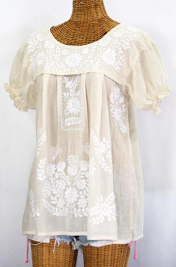"""""""La Mariposa Corta"""" Embroidered Mexican Style Peasant Top -Cream"""
