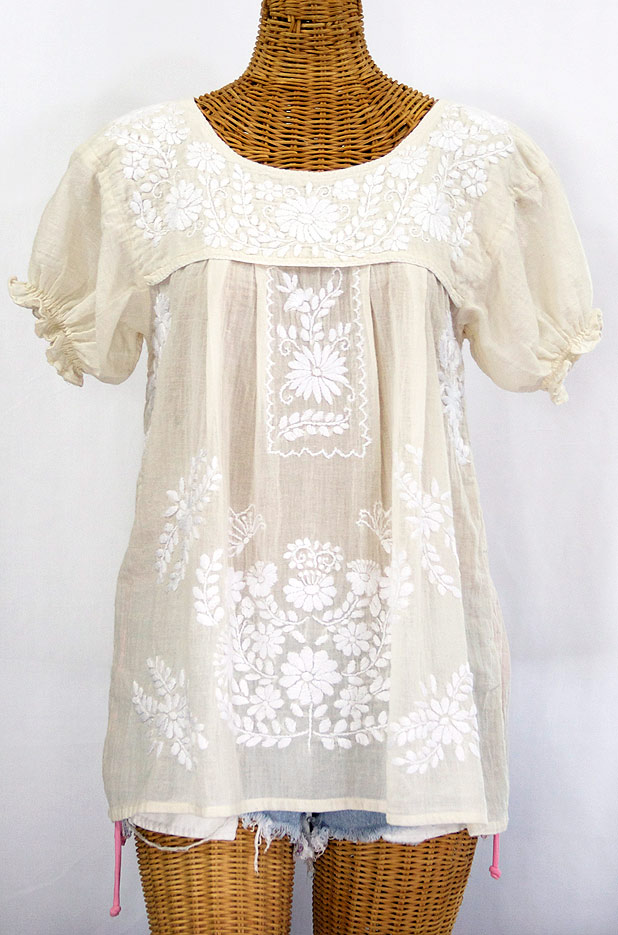 Quot la mariposa corta embroidered mexican style peasant top