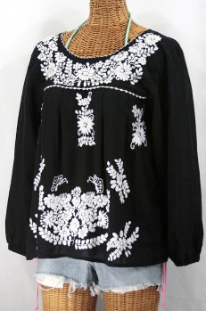 """La Mariposa Larga"" Embroidered Mexican Style Peasant Top - Black"