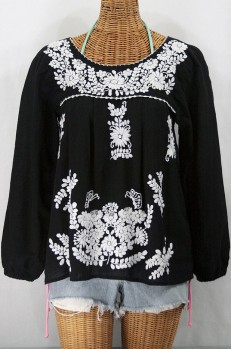 """La Mariposa Larga"" Embroidered Mexican Style Peasant Top - Black"
