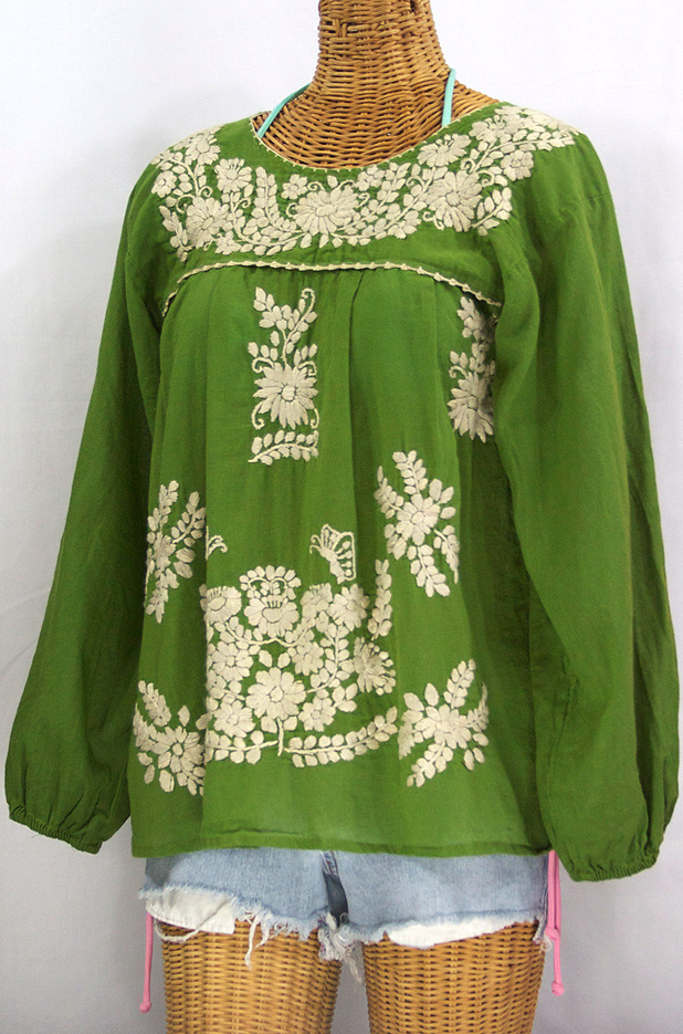 """La Mariposa Larga"" Embroidered Mexican Style Peasant Top - Fern Green + Cream"