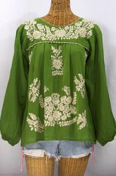 """La Mariposa Larga"" Embroidered Mexican Style Peasant Top - Fern Green + Cream"