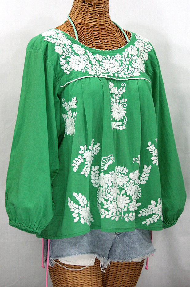 """""""La Mariposa Larga"""" Embroidered Mexican Style Peasant Top - Green"""