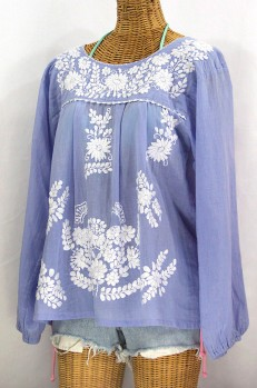 """La Mariposa Larga"" Embroidered Mexican Style Peasant Top - Periwinkle"