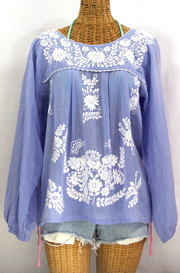 """""""La Mariposa Larga"""" Embroidered Mexican Style Peasant Top - Periwinkle"""