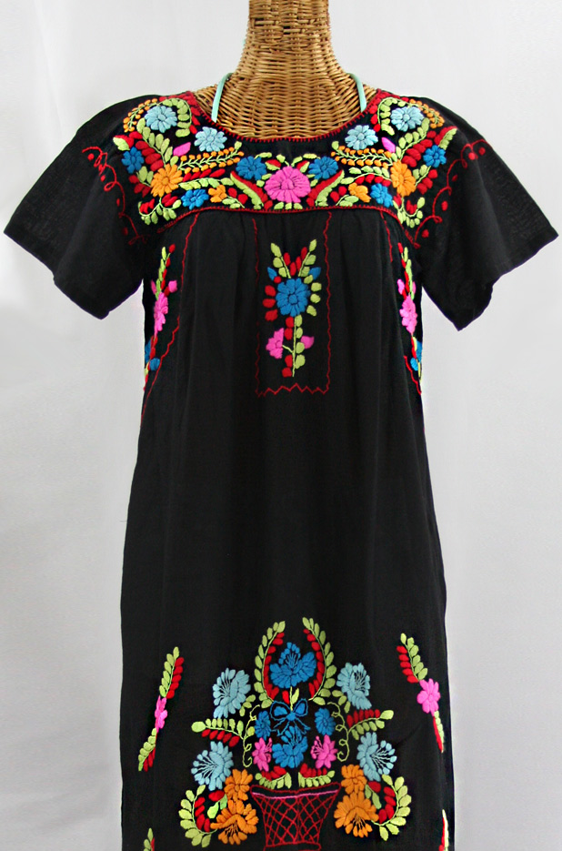 La Palma Embroidered Maxi Dress Black Multi