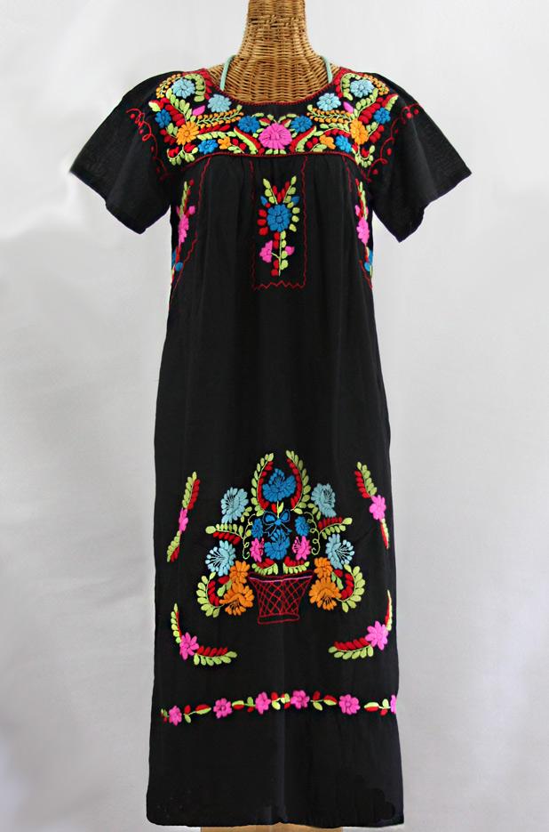 "FINAL SALE -- ""La Palma"" Embroidered Maxi Dress - Black + Multi"