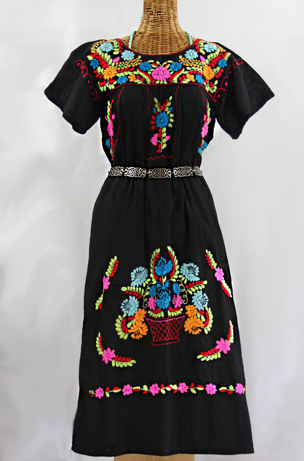 """La Palma"" Embroidered Maxi Dress - Black + Multi"