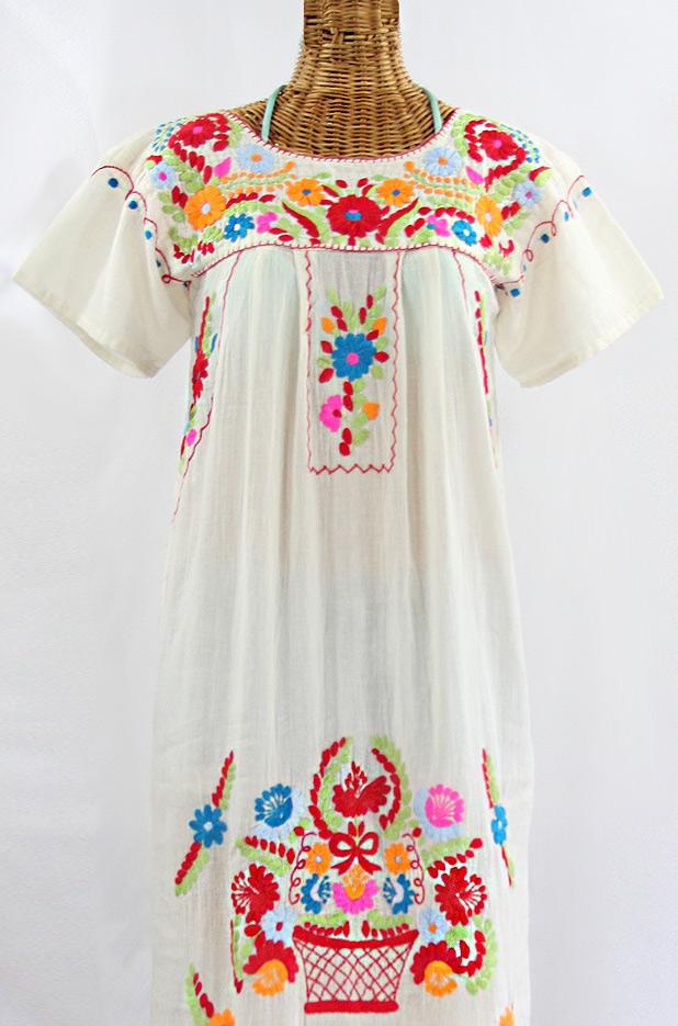 """""""La Palma"""" Embroidered Maxi Dress - Off White + Multi"""