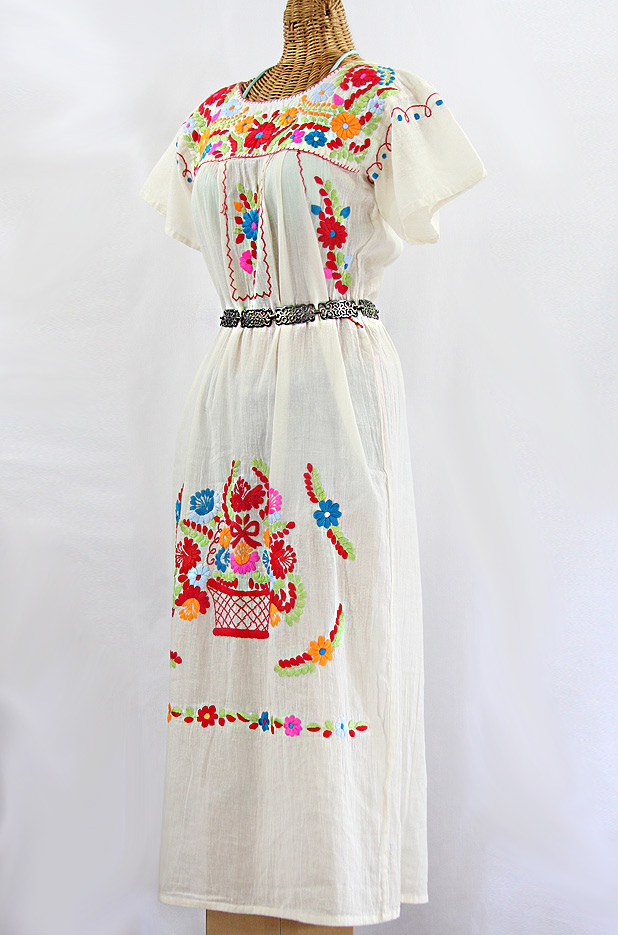 """La Palma"" Embroidered Maxi Dress - Off White + Multi"