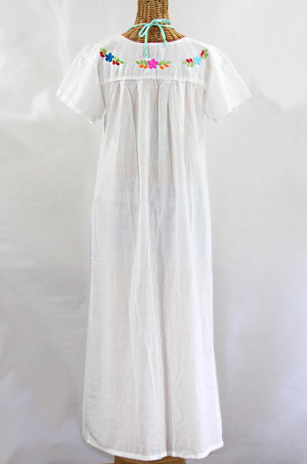 """""""La Palma"""" Embroidered Maxi Dress - White + Multi"""