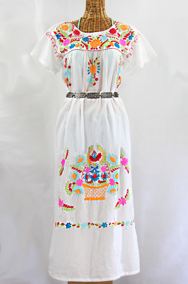 """La Palma"" Embroidered Maxi Dress - White + Multi"