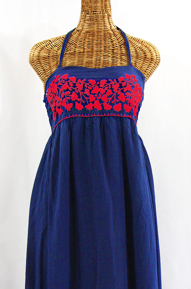 "Final Sale 60% Off -- ""La Mallorca"" Embroidered Maxi Dress with Lining - Denim Blue + Red"