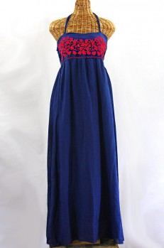 """La Mallorca"" Embroidered Maxi Dress with Lining - Denim Blue + Red"