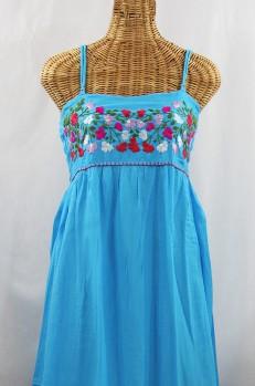 """La Mallorca"" Embroidered Maxi Dress with Lining - Aqua + Multi"