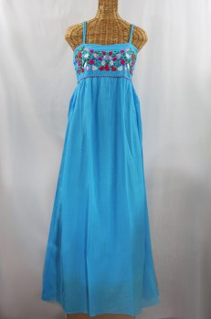 """La Mallorca"" Embroidered Maxi Dress with Lining - Aqua + Multi"
