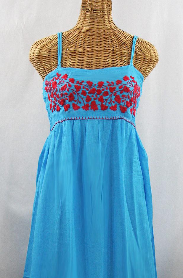 "60% Off Final Sale ""La Mallorca"" Embroidered Maxi Dress with Lining - Aqua + Red"