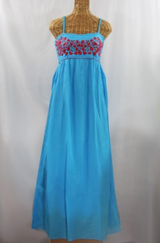 "60% Off Final Sale ""La Mallorca"" Embroidered Maxi Dress with Lining - Aqua + Red"