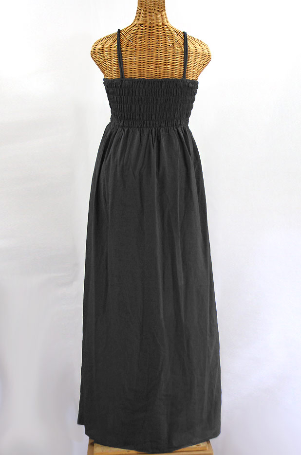 "Final Sale 60% Off -- ""La Mallorca"" Embroidered Maxi Dress with Lining - Charcoal + Maroon"