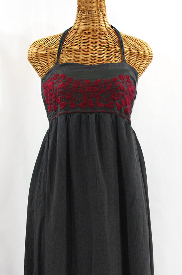 """""""La Mallorca"""" Embroidered Maxi Dress with Lining - Charcoal + Maroon"""