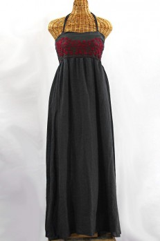 "60% Off Final Sale ""La Mallorca"" Embroidered Maxi Dress with Lining - Charcoal + Maroon"