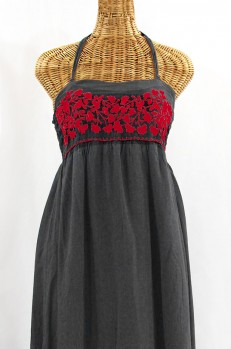 """""""La Mallorca"""" Embroidered Maxi Dress with Lining - Dark Grey + Red"""