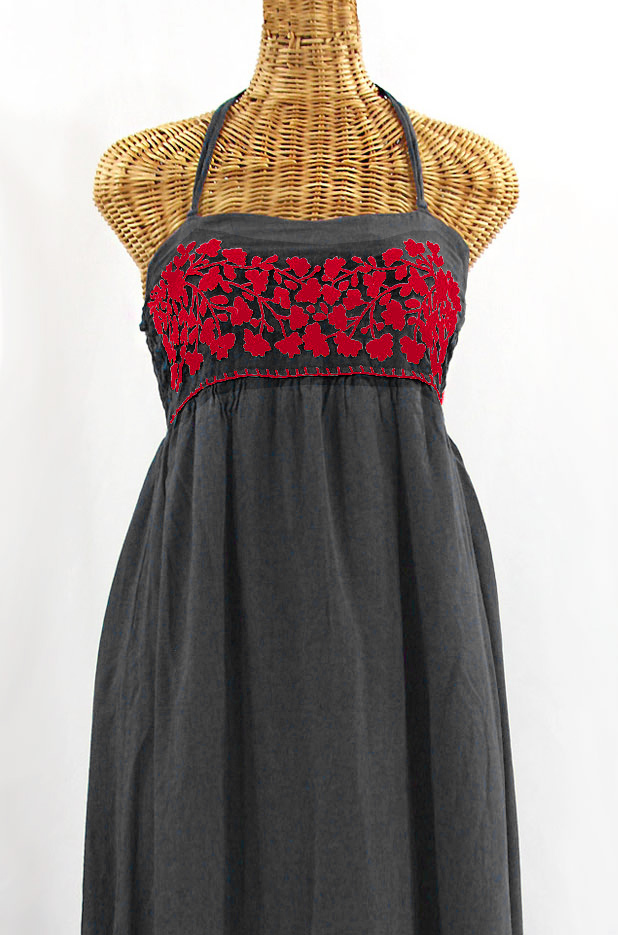 """La Mallorca"" Embroidered Maxi Dress with Lining - Dark Grey + Red"