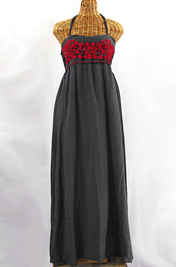 "Final Sale 60% Off -- ""La Mallorca"" Embroidered Maxi Dress with Lining - Dark Grey + Red"