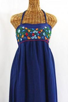 "Final Sale 60% Off -- ""La Mallorca"" Embroidered Maxi Dress with Lining - Denim + Fiesta"