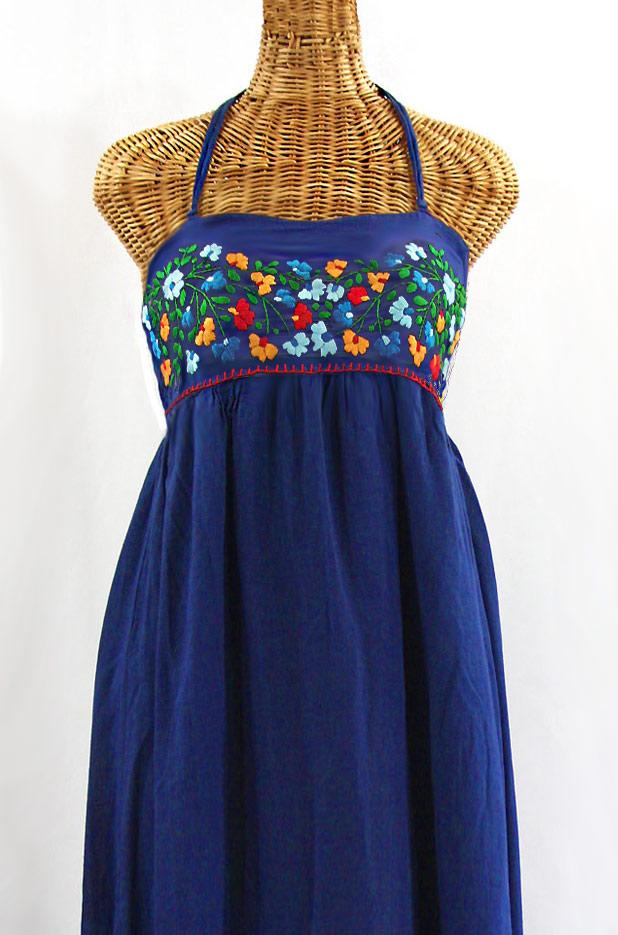 "60% Off Final Sale ""La Mallorca"" Embroidered Maxi Dress with Lining - Denim + Fiesta"