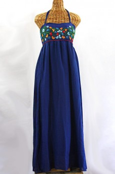 "Final Sale 60% Off -- ""La Mallorca"" Embroidered Maxi Dress with Lining - Denim + Fiesta"