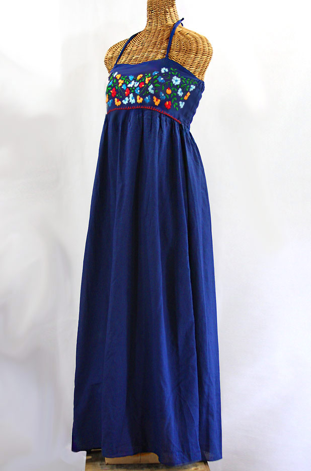 """La Mallorca"" Embroidered Maxi Dress with Lining - Denim + Fiesta"