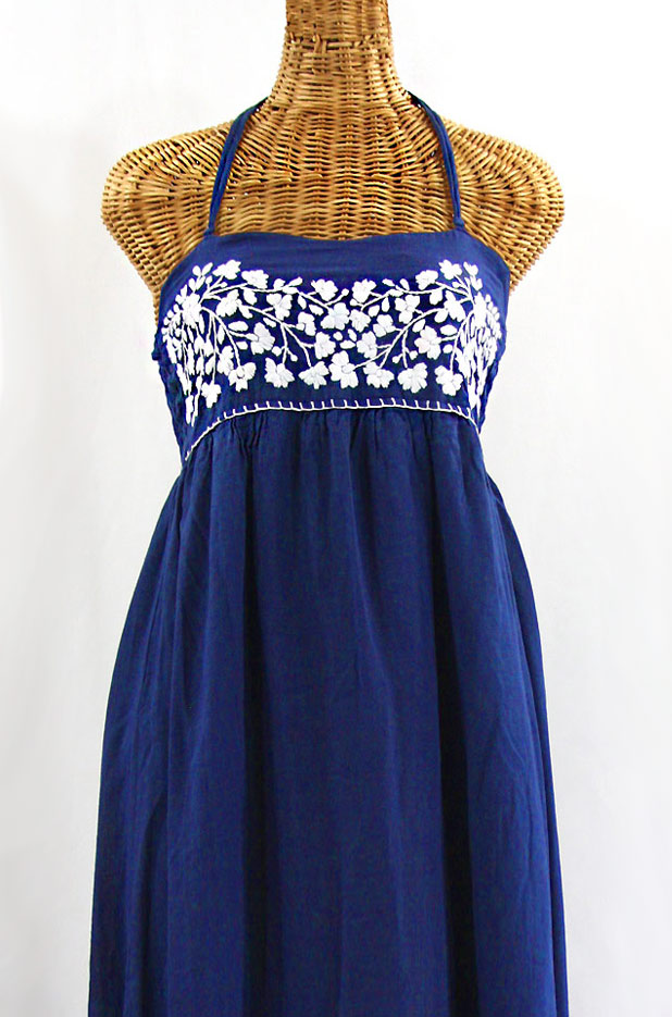 """La Mallorca"" Embroidered Maxi Dress with Lining - Denim Blue + White"