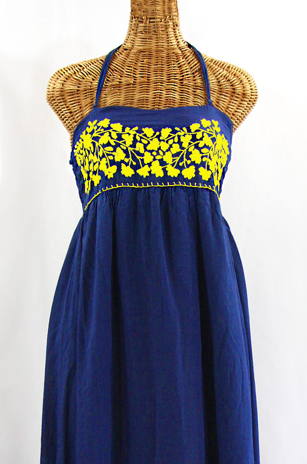 """La Mallorca"" Embroidered Maxi Dress with Lining - Denim Blue + Yellow"