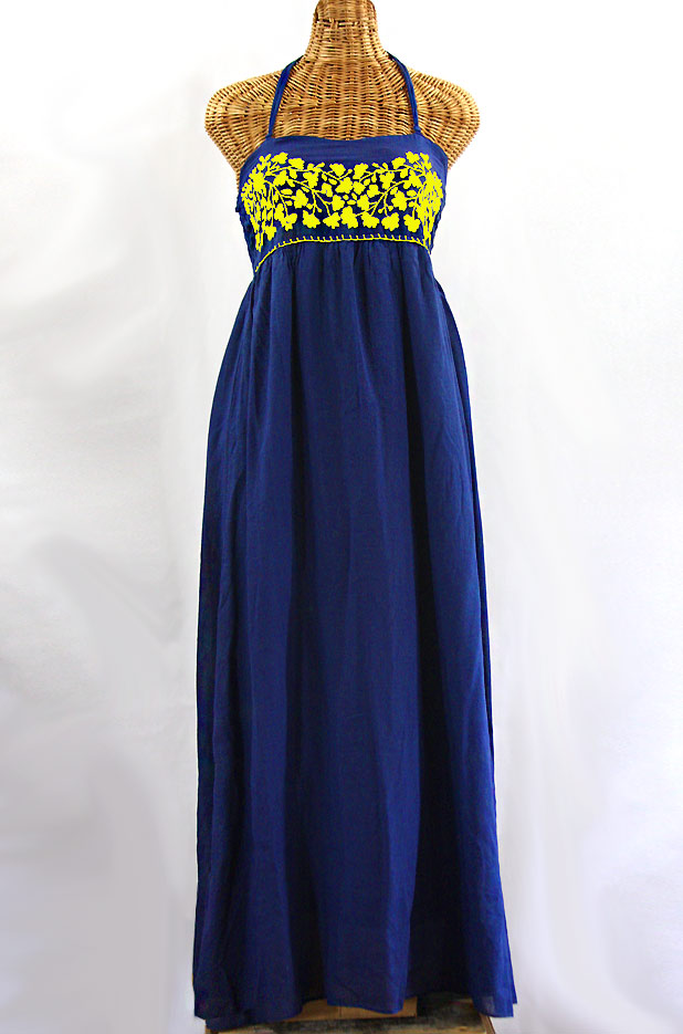 """La Mallorca"" Embroidered Maxi Dress with Lining - Denim Blue + Yellow"