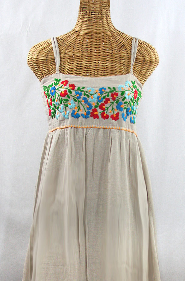 """""""La Mallorca"""" Embroidered Maxi Dress with Lining - Greige + Fiesta"""