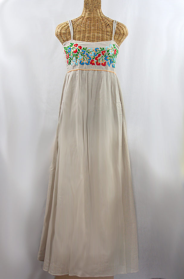 "60% Off Final Sale ""La Mallorca"" Embroidered Maxi Dress with Lining - Greige + Fiesta"