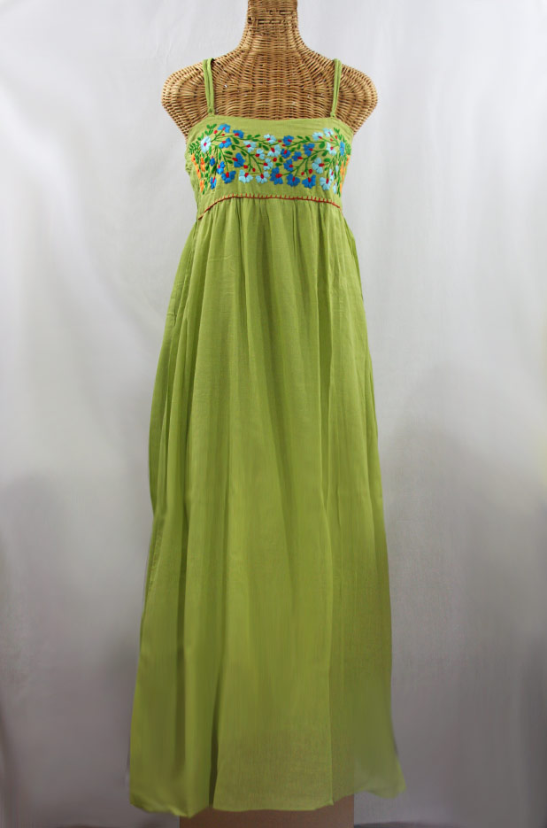 """60% Off Final Sale """"La Mallorca"""" Embroidered Maxi Dress with Lining - Moss Green + Fiesta"""