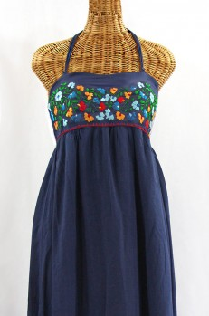 """Final Sale 60% Off -- """"La Mallorca"""" Embroidered Maxi Dress with Lining - Navy + Fiesta"""