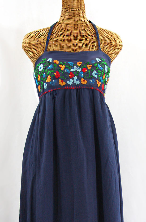 """60% Off Final Sale """"La Mallorca"""" Embroidered Maxi Dress with Lining - Navy + Fiesta"""