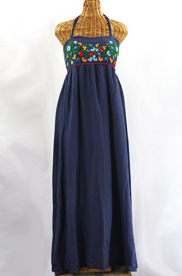 "Final Sale 60% Off -- ""La Mallorca"" Embroidered Maxi Dress with Lining - Navy + Fiesta"