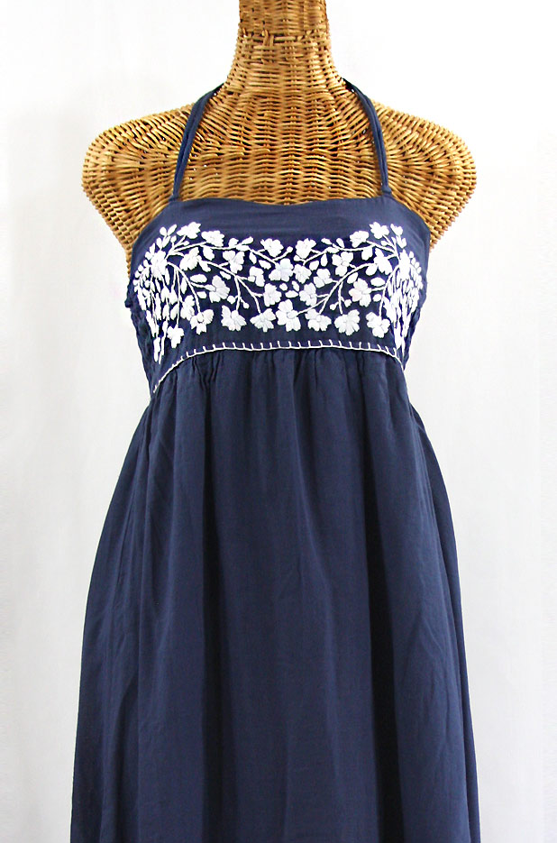 """""""La Mallorca"""" Embroidered Maxi Dress with Lining - Navy Blue + White"""