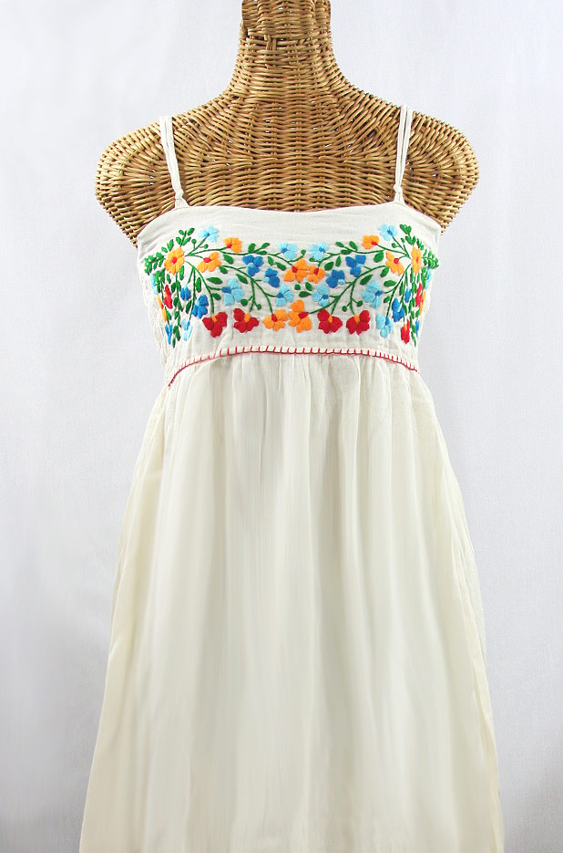 "60% Off Final Sale ""La Mallorca"" Embroidered Maxi Dress with Lining - Off White + Fiesta"