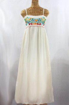 """La Mallorca"" Embroidered Maxi Dress with Lining - Off White + Fiesta"