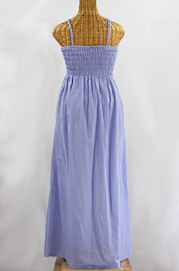 """La Mallorca"" Embroidered Maxi Dress with Lining - Periwinkle + White"