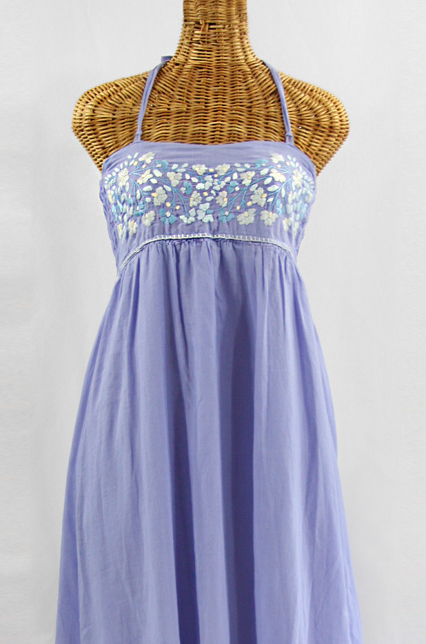 """""""La Mallorca"""" Embroidered Maxi Dress with Lining - Periwinkle + Blue Tones"""